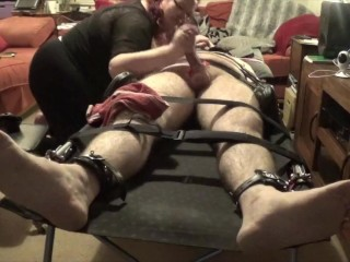 Strapped down femdom cock torture with post orgasm PART 2 OF 2