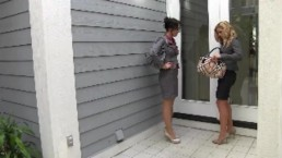 ENF Secretaries made to strip on front porch