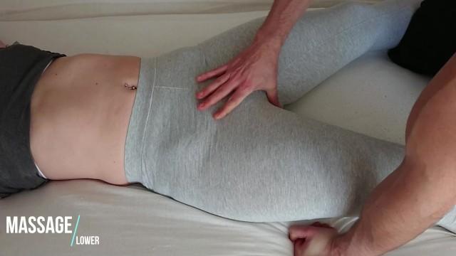 Spread stocking legs milfs Toching pussy in grey soft yogapants - leggings