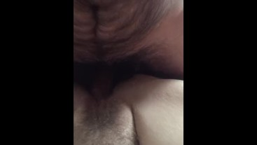 POV Pounding BBW hairy pussy hard whilst she films my cock