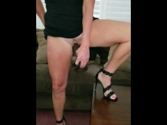 Date night pre fuck with 13 inch bbc dildo and pussy plug! Hall pass