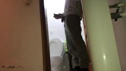 Piss and cum on the door in public toilet!
