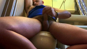 Whiffing Musky Jock Pits, Shooting Cum on Toilet
