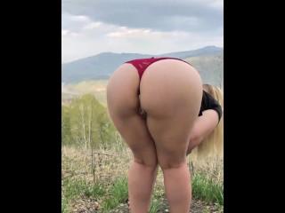 Public sex with big ass girl through panties