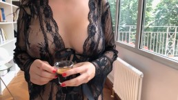 coffee and blowjob with swallow his wife does a perfect service.