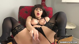 Solo brunette, Valentina Nappi plays with big dildo in 4K