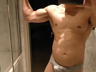 Fat dad with hard belly flexes his hard...