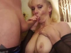 Milf Big Tits Blonde Mom watching porn Blows Step Son Cums On Tits