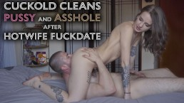 Young Hotwife makes Cuckold clean used Pussy Ass with tongue after fuckdate