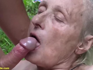 85 years old granny rough outdoor fucked