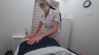 Foot massage ended with a hot blowjob from a cute nurse