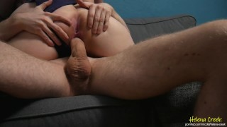 Chubby college slut rides freshman's virgin cock without condom