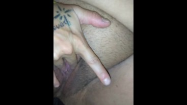 Pleasing my hairy fat pussy
