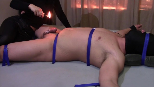 Packing heat penis Extreme cbt pain on penis and balls from deep heat and candle wax.
