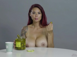 Porn Stars Eating: Tera Patrick Crunches A Big Pickle