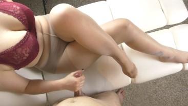Young schoolgirl handjob on her big tits - cum pantyhose