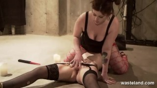 Submissive Lesbian Tied To Floor And Ridden By Chubby Femdom Mistress