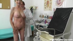 Fake doctor secretly records gyno exam of good looking granny with big tits
