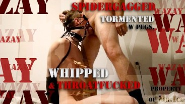 Preview - Spidergagged Twink Tormented w Pegs, Whipped & Throatfucked