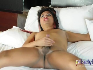 Fat filipino ladyboy with small tits gets horny...