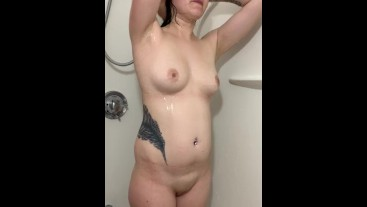 Taking a shower before anal creampie