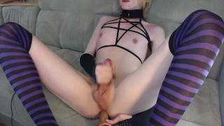 Cute femboi in striped stockings fuck himself with dildo and cum