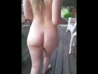 18 Year Old Girl Loves Being Naked at Home Where the Neighbors Can See!!