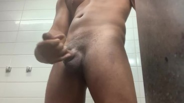 Jacking off before shower with CUMSHOT
