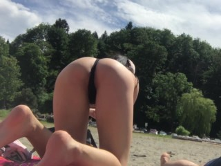 Spying on asian ass in thong at the...