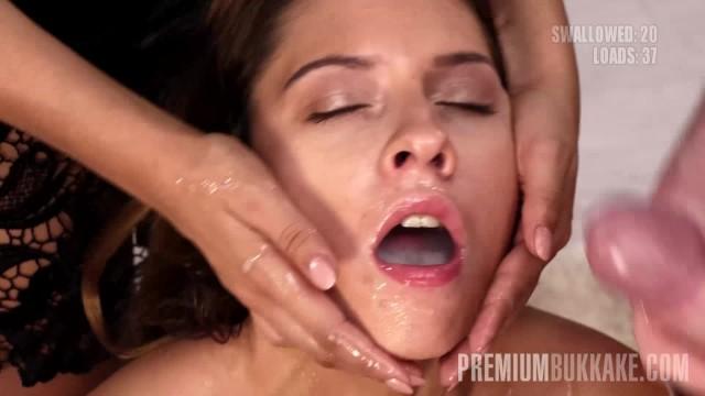 Premium Bukkake - Rebecca Volpetti swallows 69 huge mouthful cumshots