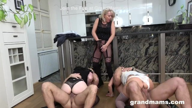 Hot granny on young cock First ever granny orgy cock fest