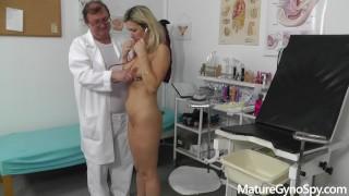 Gyno exam of sexy MILF Jenny Smith secretly filmed by her filthy gyno doc