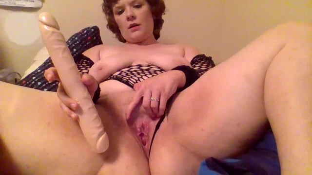 Thicc Cutie In Fishnets Has Fun With Double Dildo + Massager - My 2nd Video 14