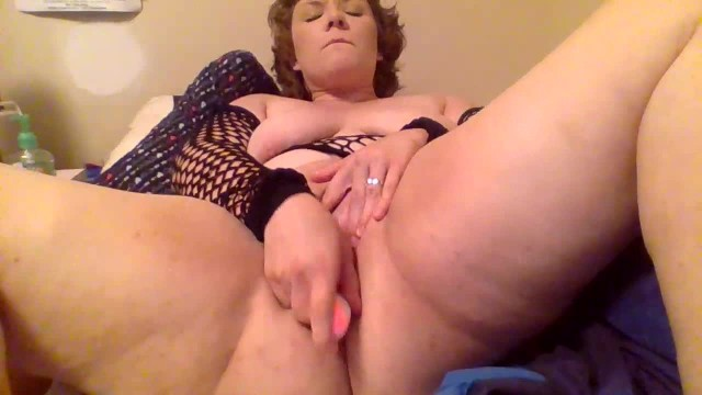 Thicc Cutie In Fishnets Has Fun With Double Dildo + Massager - My 2nd Video 36