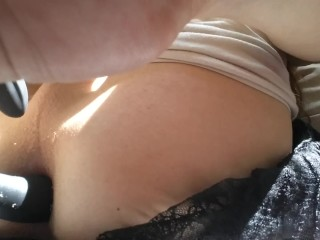 Petite tgirl showing ass pussy and toying...