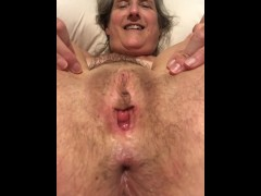 60 year old granny mom milf mature gilf tied up and spreading pussy
