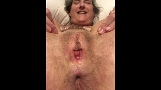 A granny pussy 60 year old granny mom milf mature gilf tied up and spreading pussy