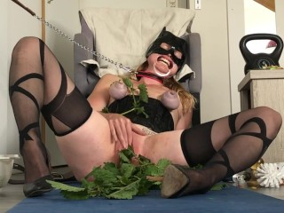 Nettle torture for submissive painslut. Slave gets pussy & boobs punishment