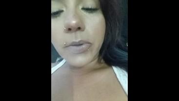 Teaser Latina MILF smoking and boobs