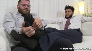 Hot hunk in a classy suit sole worshiped by coworker