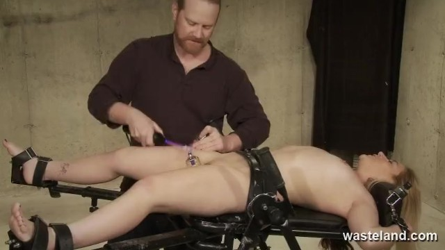 Electric stimulation fuck orgasm - Dominant male stimulates bound submissive with electricity and dildos