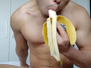 Eating a banana though not quite big enough...
