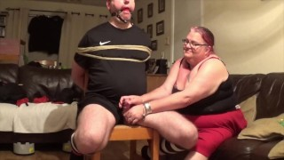 Chair tie - With polishing post orgasm torment Part 1 of 2
