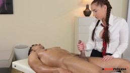Extra hot schoolgirl Jenny massages stud's hard dick with her pretty hands