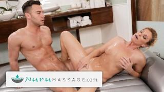 NuruMassage Hot MILF Showers, Oils and Sucks & Fucks Younger Guy