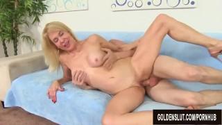 Younger Guy Pleasures Naughty Grandma Erica Lauren with Tongue and Cock