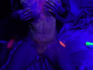 Lactating Fit Chick fucking pussy with dildo and playing with black light