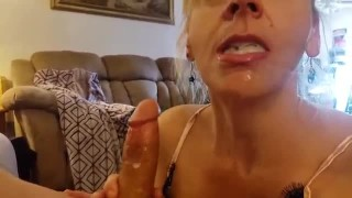Blonde Milf Mom catches stepSon Jerking Makes him Cum in her Mouth TABOO