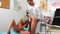 Sexy MILF fucked by student medic in head physician's gyno surgery
