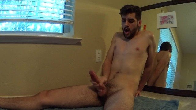 Stroking cum - Hot slim bearded boy stroking and cumming hard